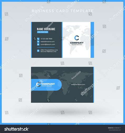 sided business card template open office doublesided blue business card template vector stock