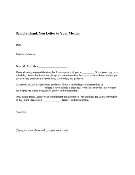 Thank You Letter Mentor Thank You Letter To Your Mentor In Word And Pdf Formats