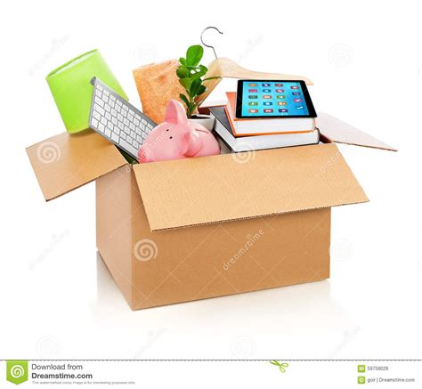 house stuff cardboard box full with household stuff stock photo image 59759029