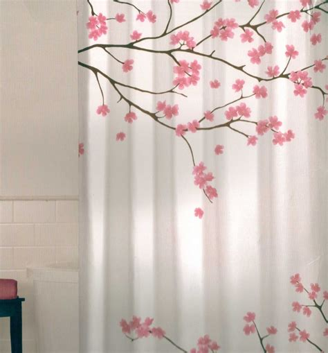 Cherry Blossom Curtains Floral Cherry Blossom Pink Brown White Quality Fabric Shower Curtain New Ebay
