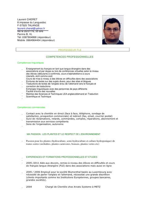 Modèle Cv Franàçais by Exemple Cv Francais Professeur Sle Resume