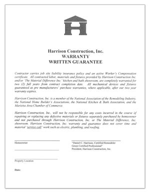 written guarantee template construction warranty template how construction warranty