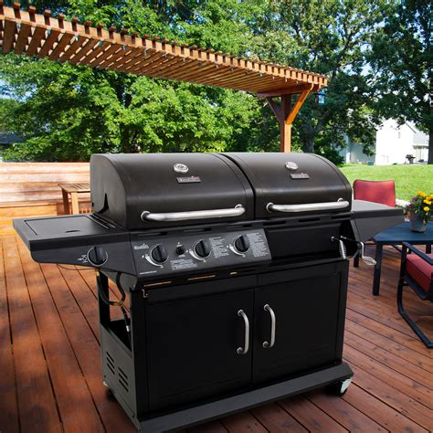 backyard grill gas charcoal combination grill char broil deluxe charcoal and 3 burner gas grill combo