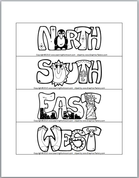 printable cardinal directions free coloring pages of cardinal directions