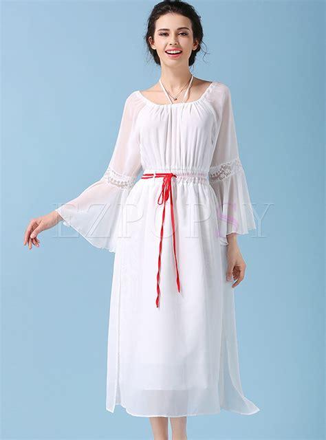 vintage shoulder ruffle sleeve slim maxi dress