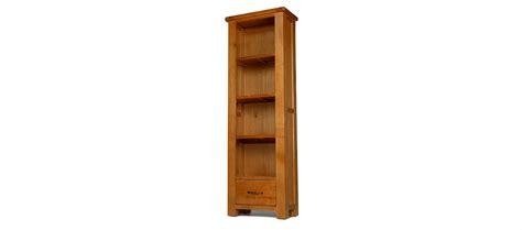 Slim Wooden Bookcase Barham Oak Slim Bookcase With Drawer Quercus Living