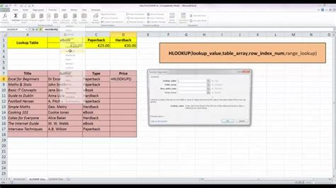 tutorial excel hlookup how to use the hlookup function in excel 2010