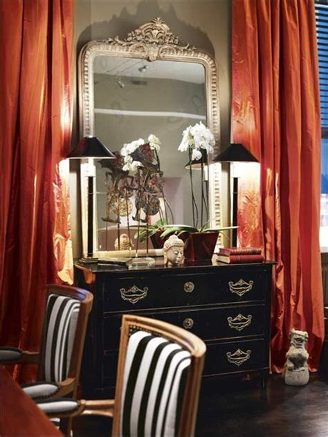 black and orange curtains decorating with black and orange places in the home