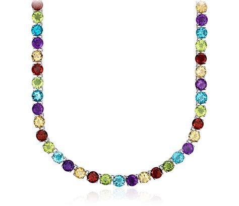 Gemstone Necklace multicolor gemstone necklace in sterling silver 5mm