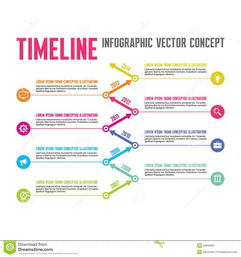 Creative Project Template infographic vector concept in flat design style timeline
