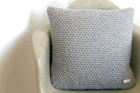 Rempel Knit knitted cushion in grey the pacific coast knit pillow stitches grey and knit pillow
