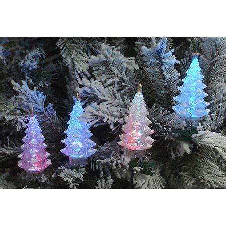 set of 4 multi color led tree lights green wire walmart