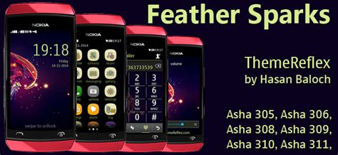 themes nokia asha 306 feather sparks theme for nokia asha 305 asha 306 asha
