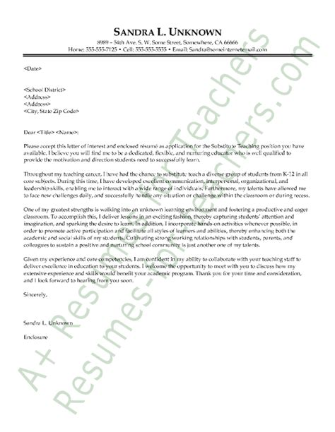 Substitute Teaching Resume Cover Letter by Substitute Cover Letter Sle And