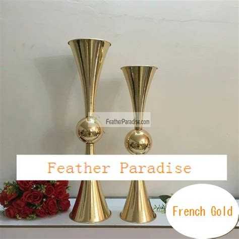 Metallic Vases Cheap by Discount 29 Inches Reversible Gold Metal Trumpet Vases