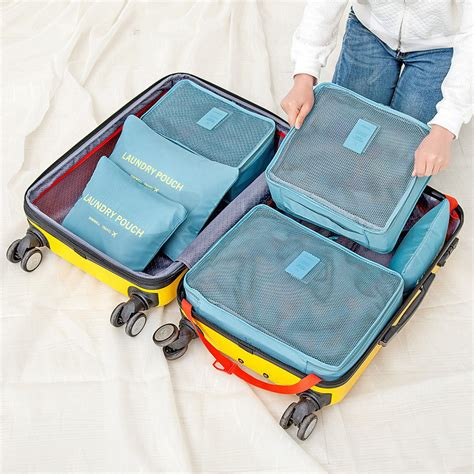Quality Traveling Bag In Bag Organizer 1 Set Isi 6 Pcs Ukuran 6pcs summer style travel storage bag set for clothes tidy