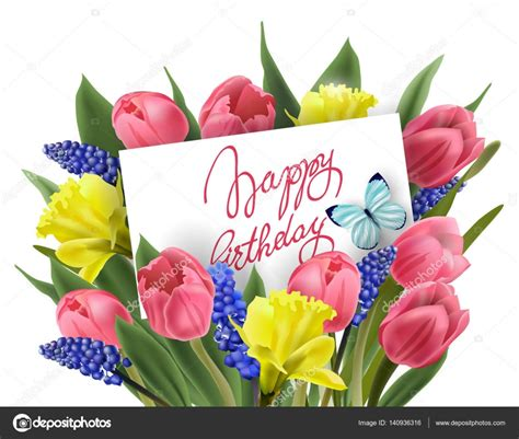 mazzo di fiori buon compleanno cartolina d auguri di buon compleanno con il mazzo di