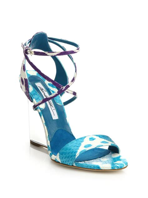 brian atwood ikat lucite wedge snakeskin sandals in purple