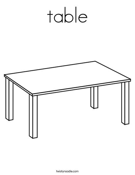 T Is For Table table coloring page twisty noodle
