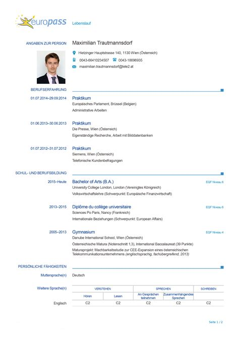 Lebenslauf Muster Europass der perfekte lebenslauf europass 171 karriere diepresse