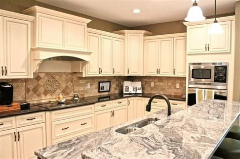 antique white maple glaze kitchen cabinets traditional