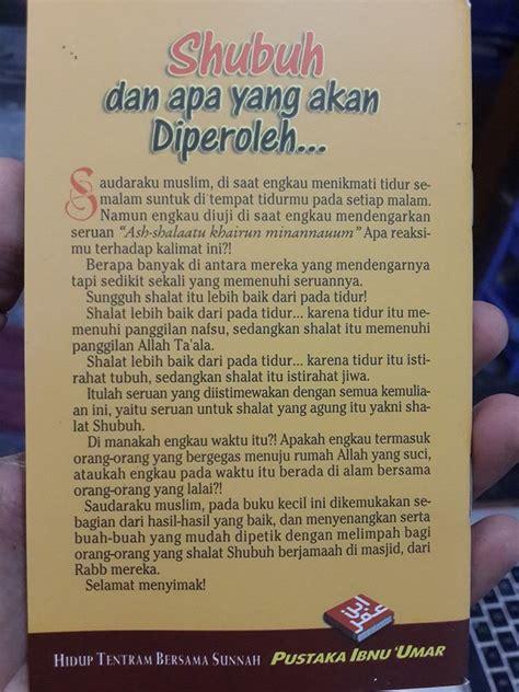 Buku Saku Shalat Lebih Baik Daripada Tidur Pustaka Ibnu Umar buku saku shubuh dan apa yang akan diperoleh toko muslim title