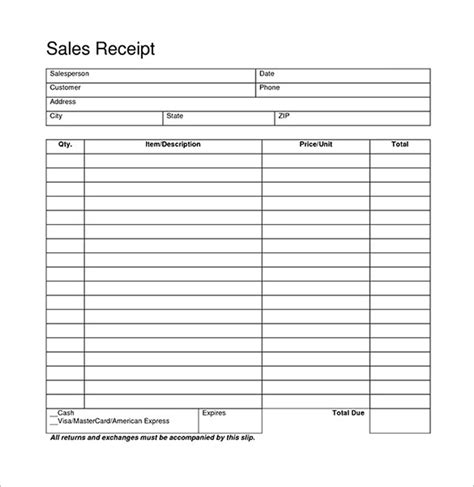 free receipt of sale template blank receipt template 20 free word excel pdf vector