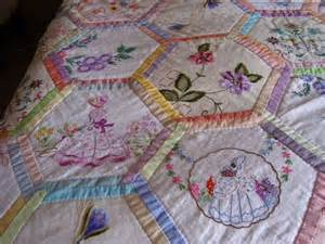 vintage embroidered linen quilting