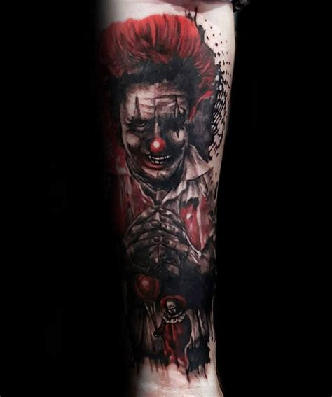 the gallery for gt evil clown tattoos drawings 75 clown tattoos for men comic performer design ideas