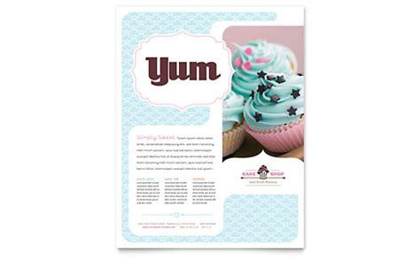 bakery flyer templates free rack card bakery cupcake shop menu template word publisher