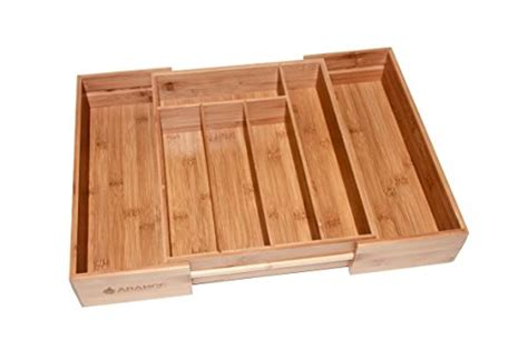 Large Kitchen Utensil Drawer Organizer Large 3 Inch Expandable Bamboo Wood Cutlery Tray
