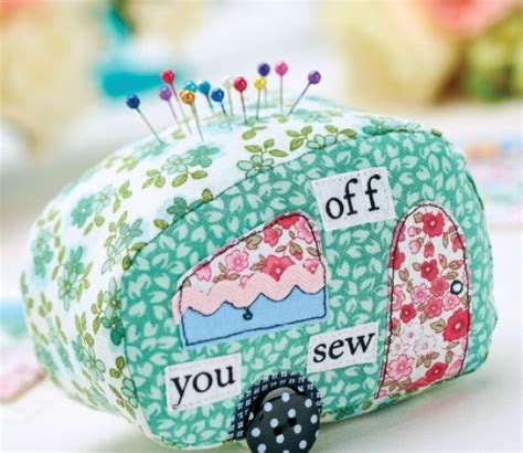 Patchwork Pincushion Free Patterns - caravan patchwork pincushion suitcase tag templates