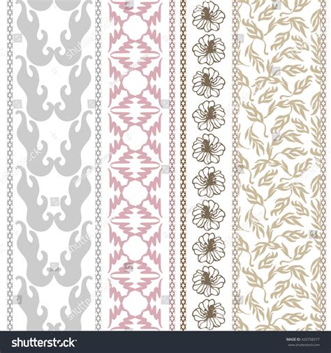 geometric pattern in french set victorian seamless borders retro damask stock vector