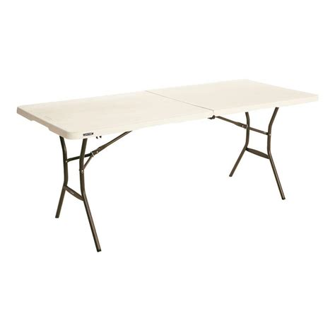 Lifetime 6 Foot Folding Table Lifetime 6 Ft Essential Almond Fold In Half Table 80454 The Home Depot