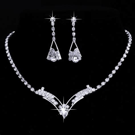 8 style tennis necklace earring set silver bridal
