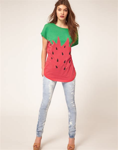 Strawberry Print Canvas Flats At Asos by Asos Collection Asos T Shirt In Strawberry Print In Green