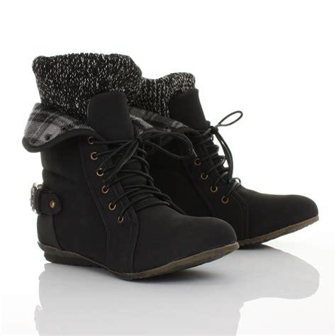 womens black lace up knit cuff flat leather style