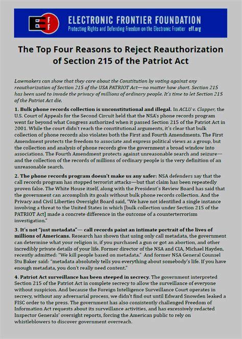 section 215 of the usa patriot act domain mondo domainmondo com top four reasons to reject