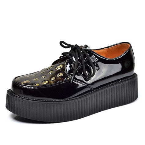 black leather creeper shoes for cw721613