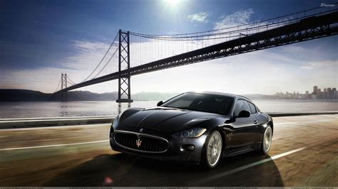 maserati black maserati granturismo running in black front pose wallpaper