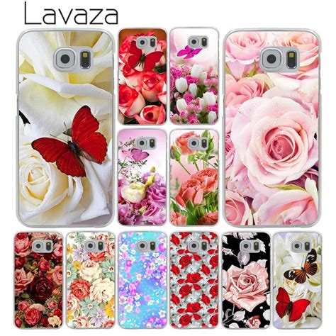 lavaza red butterfly  white roses flower hard transparent phone case  samsung galaxy