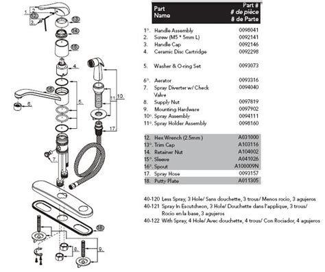 glacier bay kitchen faucet diagram gerber 40 122 kitchen faucet parts