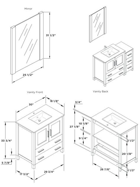 winsome vanity sizes standard with height of bathroom