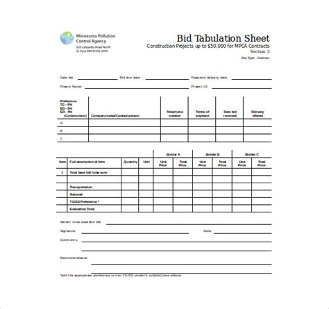 Bid Sheet Template 10 Free Word Pdf Documents Download Free Premium Templates Construction Bid Tabulation Template
