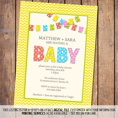 gender neutral baby shower invitation with by