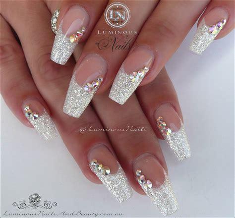 art design unique white nails cool white sparkle acrylic nails designs
