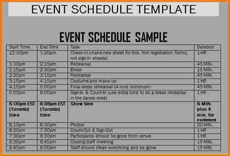 Schedule Of Events Template Authorization Letter Pdf Event Schedule Template