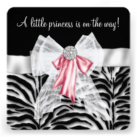 Zebra And Pink Baby Shower by Pink Zebra Baby Shower 5 25x5 25 Square Paper Invitation Card Zazzle