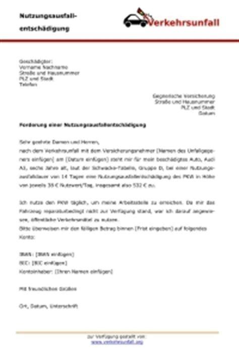 Anschreiben Versicherung Nutzungsausfallentsch 228 Digung Verkehrsunfall Org
