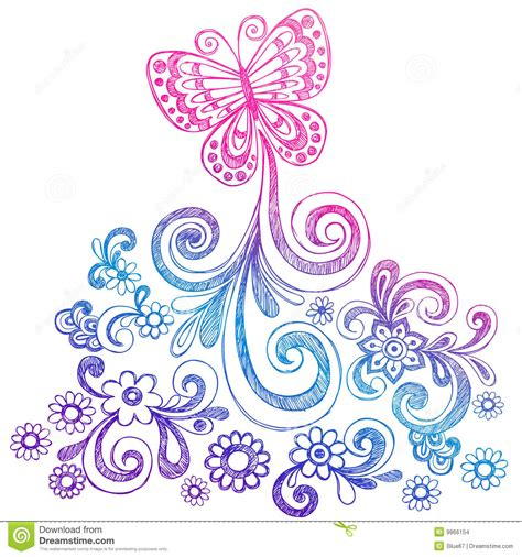 free vector doodle swirls butterfly and swirls doodle vector stock images image